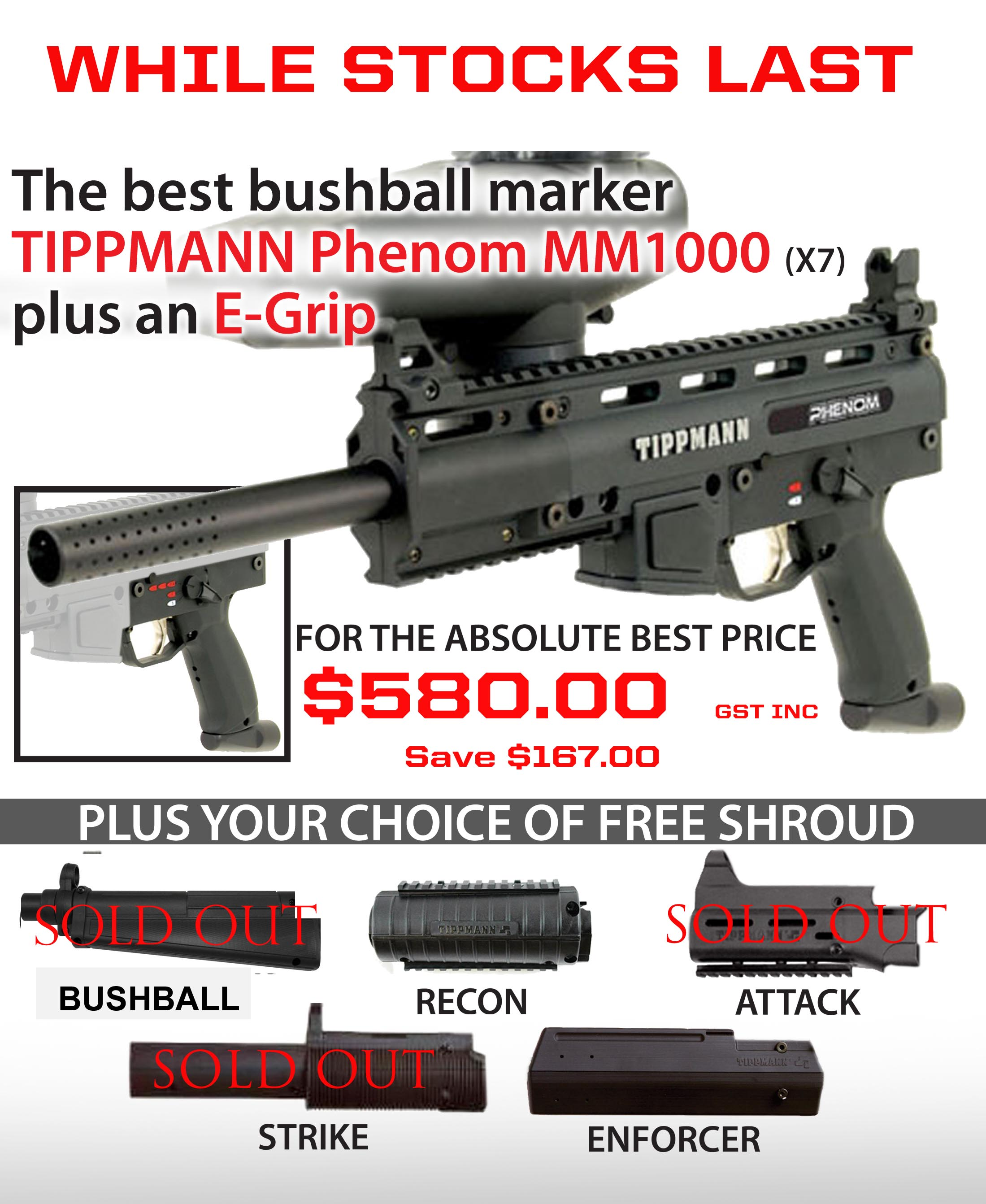 Tippmann MM1000 Phenom - PACKAGE BUNDLE